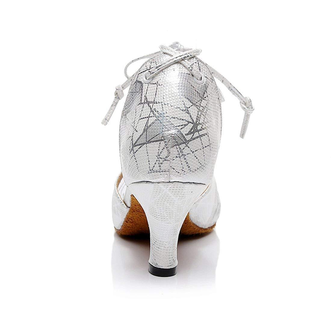 Qiusa Damen Damen Damen Floral gedruckt Silber Mesh Mandel Toe Latin Tanzschuhe Hochzeit Pumps UK 3 (Farbe   - Größe   -) 85e918