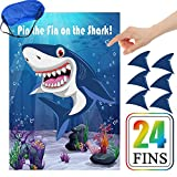 Pin The Fin On The Shark Game Birthday Party Favor Games Baby Shark Party Supplies Decorations - 24 Fins