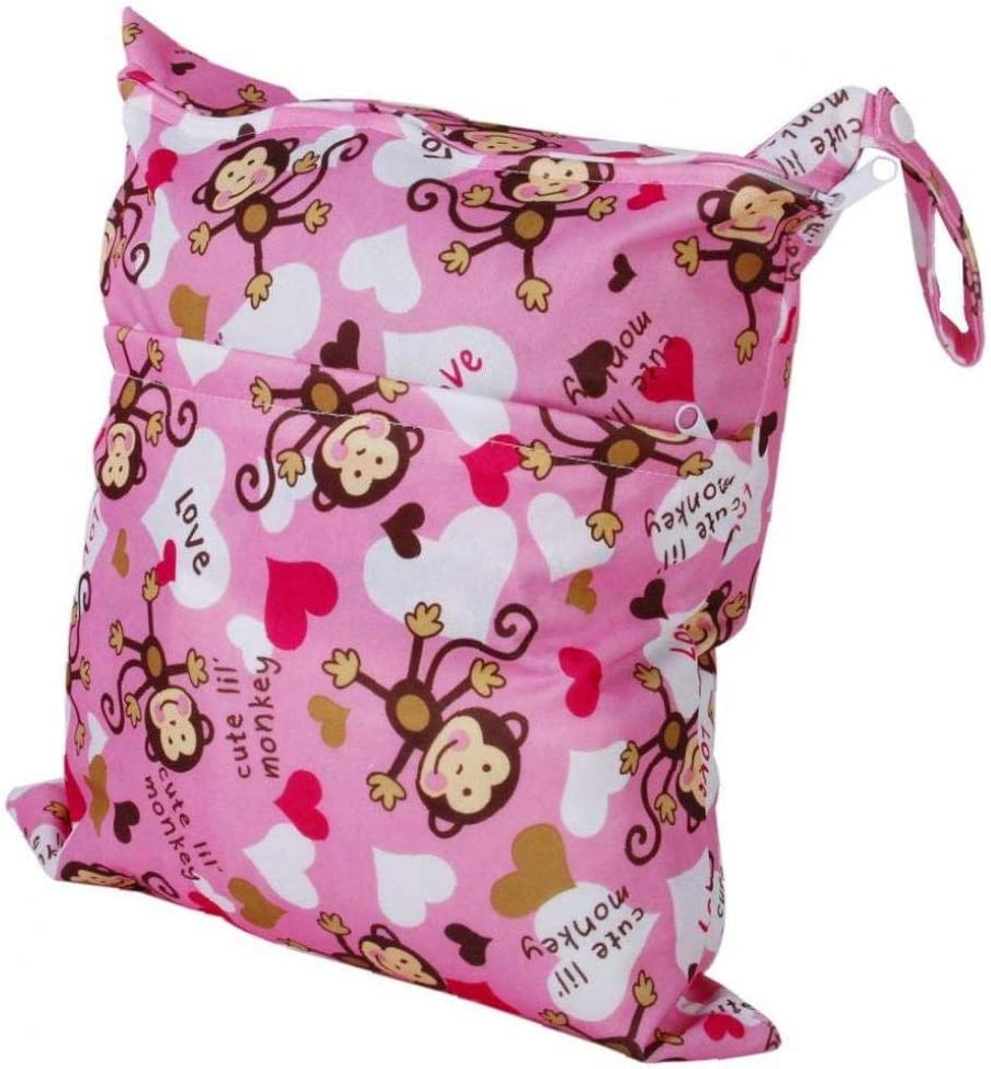 2-zip Washable Baby Cloth Diaper Nappy Bag Monkey Heart Pink