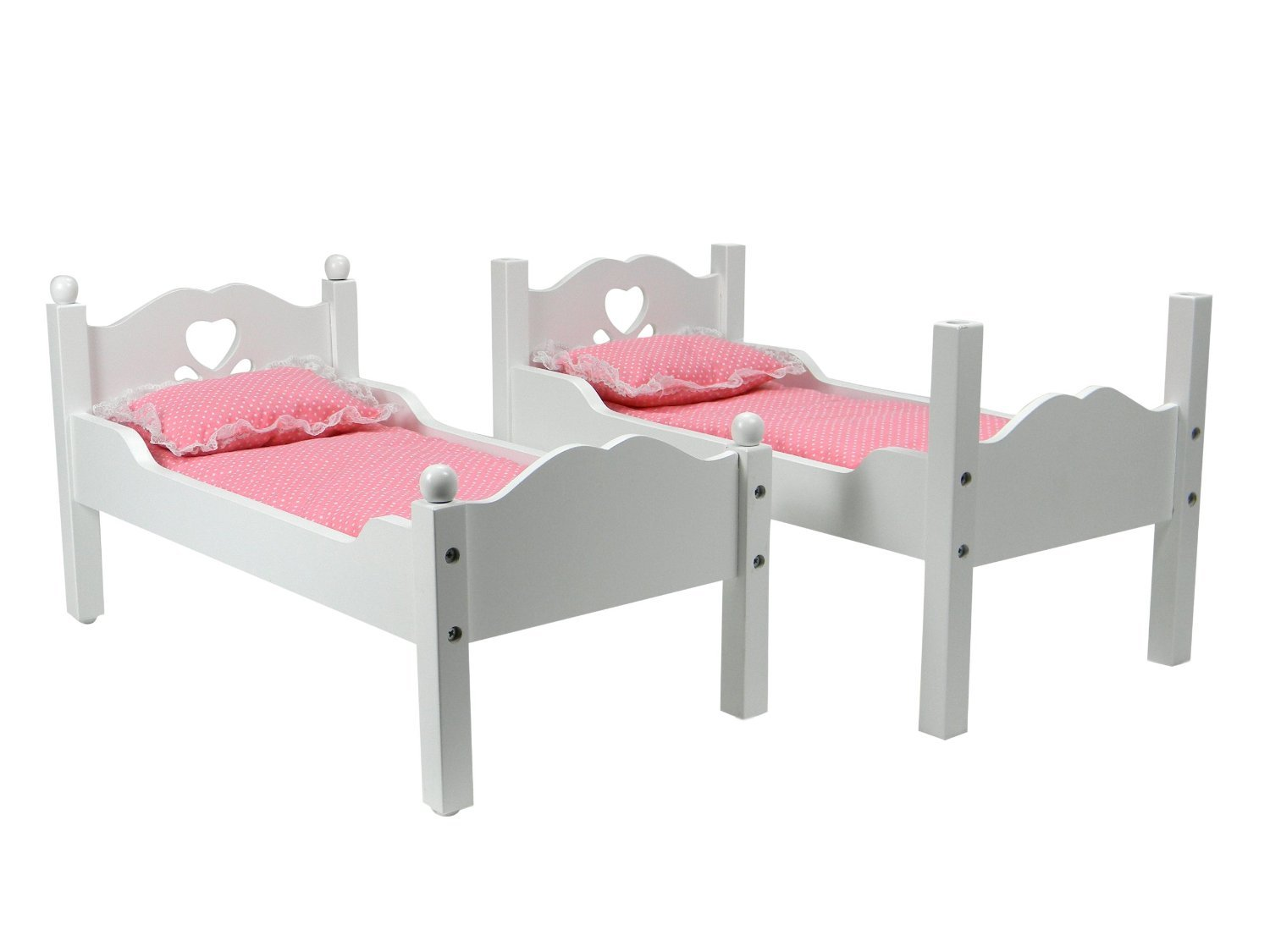 18  Doll Furniture, Bunk Bed in White Cutout Design, Ladder & 2 Doll Bedding Sets, For 18 Inch American Girl Dolls & More  Also Breaks Down into Two Separate White Beds