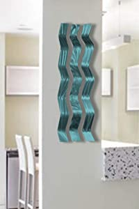 Miles Shay Metal Wall Sculpture Art, Wavy Pieces, Abstract Contemporary Modern Aluminum Zen Decor- Harmony (Teal)