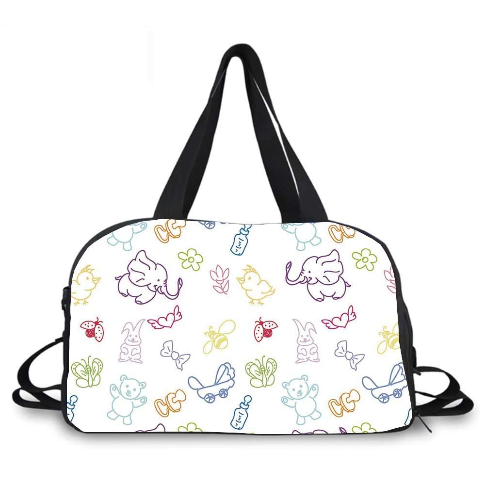 Nursery Personality Travel Bag,Cartoon Drawing Style Baby Elephants Teddy Bears Flowers Butterflies Bees Pattern for Travel Airport,One_Size