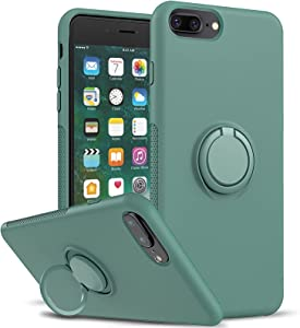 LeYi Compatible with iPhone 8 Plus Case, iPhone 7 Plus Case, iPhone 6s Plus Case, Soft Microfiber Liner Shock Absorption Gel Rubber Liquid Silicone Cover for iPhone 6 Plus, Midnight Green