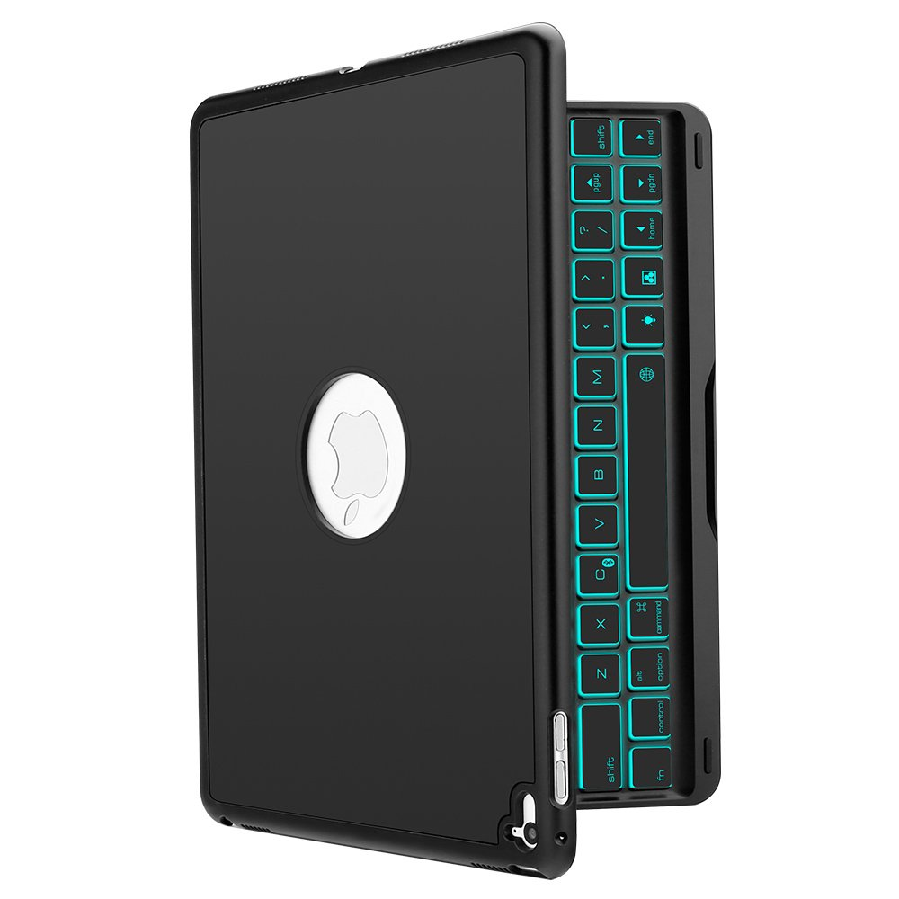 New iPad Keyboard Case, iEGrow New F8S 7 Colors LED Backlit iPad Keyboard with Protective Case Cover for iPad 6th Generation/iPad 5th Generation/iPad Air(Black)