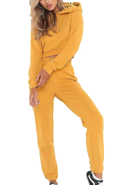 La Mujer 2 Piezas De Manga Larga con Capucha Sudaderas Pantalones Pantalones Colorblock Crop Top