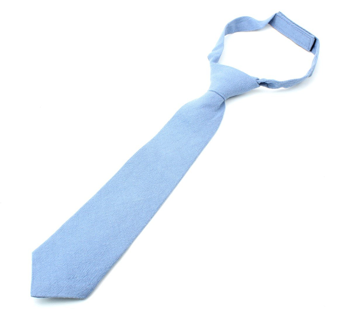 Kids Linen Formal Necktie Tie Modern Distressed Finish Solid Colors - Light Blue