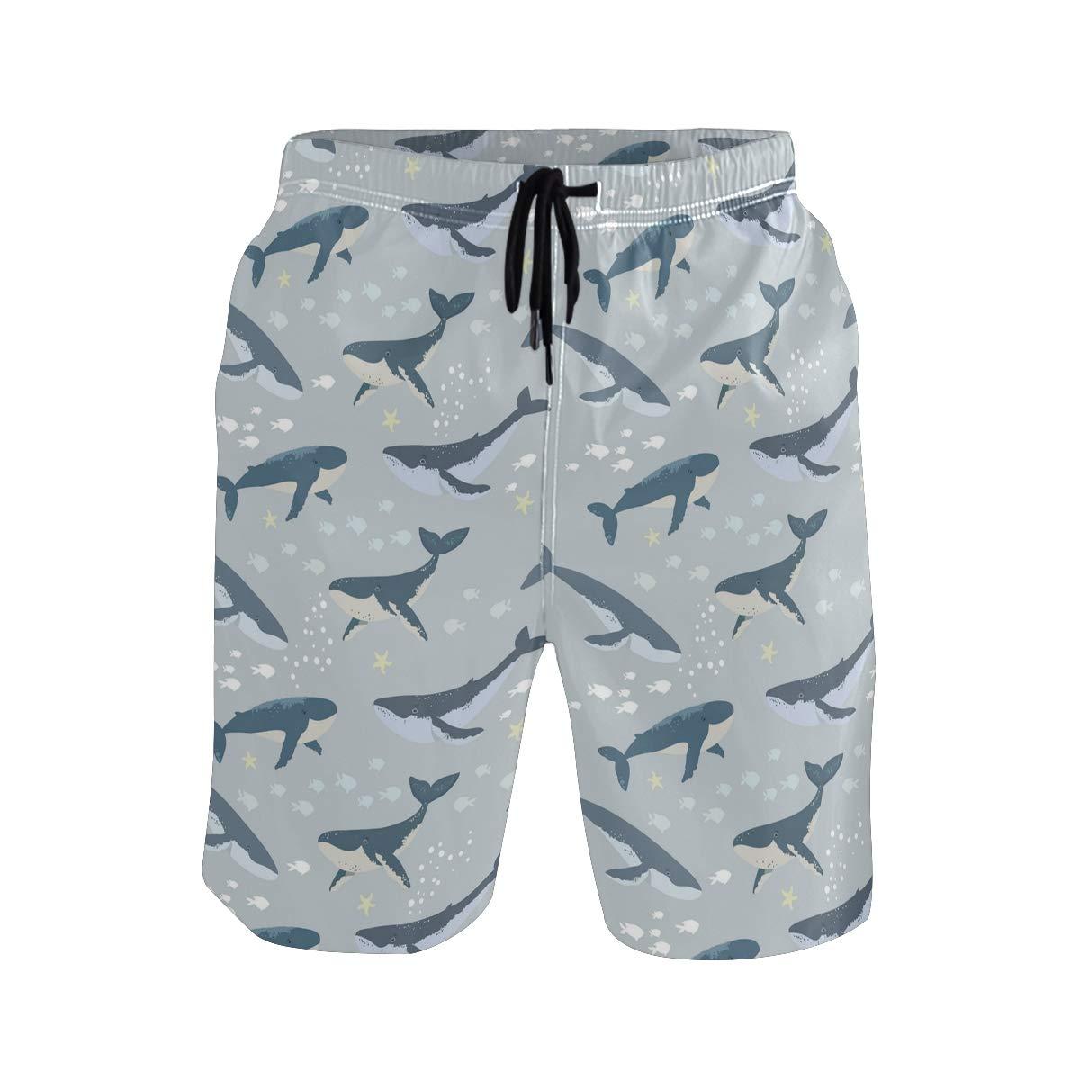 Mens Medium Length Large Blue Whale Shark Beach Shorts Casual Athletic Swimming Pants