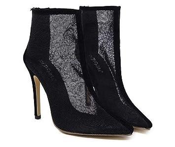 6ecc41611c2a Net Yarn Mesh High-Heeled Cool Boots Scarpin 12cm High Heels Sandals  Women s Fashion Breathable Flower Lace Hollow Pointed Toe Zipper Classic Black  Dress ...