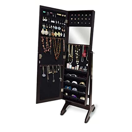 GLS Dark Brown Mirrored Jewelry Armoire Floor Standing Or Wall Mount  Cabinet Cheval With Lock