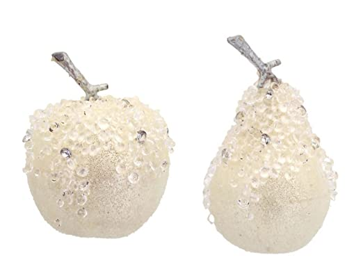 Christmas Tablescape Decor - Whimsical Off-White and Silver Rhinestone Beaded White Apple and Pear Decorative Christmas Ornaments - Set of 12