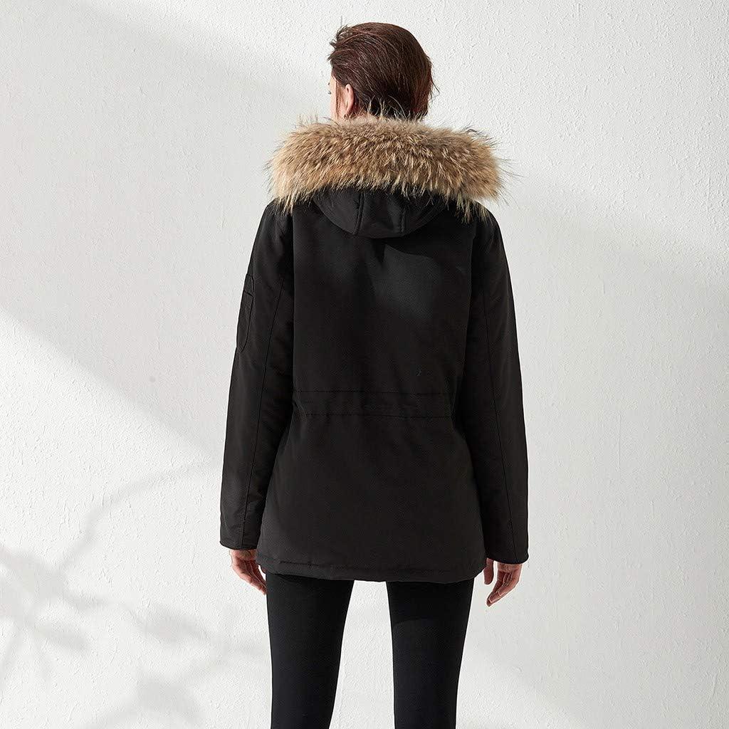 UFACE Doudoune Femme avec Fourrure avec Capuche Poches Casual Sport Chauds Manteau Courte Hiver Noir