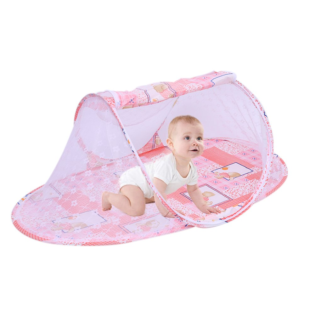 Foldable Baby Travel Crib Mesh Bed Mosquito Net Netting Portable Infant Cots Newborn Cartoon Travel Bed Play Tent House with Zipper (Not Need Installed)- Pink iBaste_S GF0118000