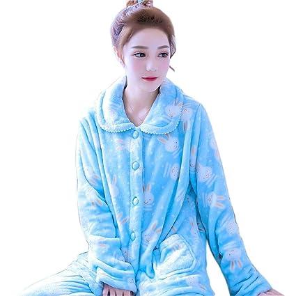 SALICEHB Conjunto De Pijama De Mujer De Invierno Homewear Traje Largo De Dibujos Animados De Mujer