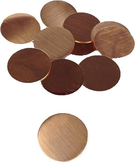 16 Oz RMP Stamping Blanks - 10 Pack 24 Ga. 1 Inch Round Copper 0.021 Inch
