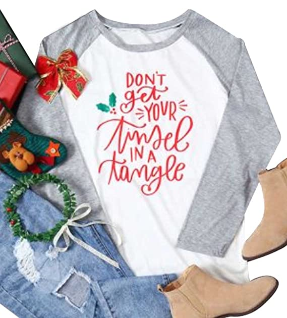 7704ad5e jinting dont get your tinsel in a tangle womens christmas letter baseball t