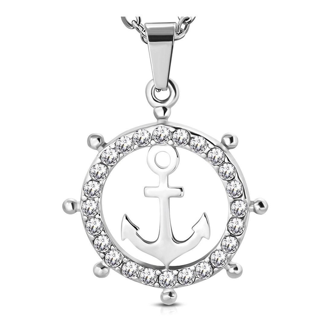 Acier inoxydable Ancre Marine gouvernail Roue de bateau marin Charm pendentif avec Clear CZ NRG 316L Jewelry 205-QLI201