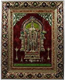 Kapasi Handicrafts Lord Murugan/God Kartikeya/Shamukha Embossed On Brass Minakari Standing Wall Hanging Photo Frame (45L X 58H) CM Antique Finish Indian Home Decor Art Piece
