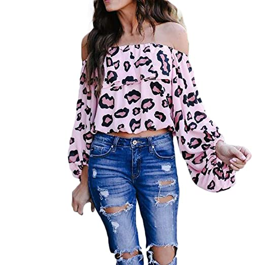 9f1bf3b89d2b2 Coco-Z 2019 New Summer Casual Sexy Off Shoulder Flare Sleeve Leopard Print  Strapless Tops