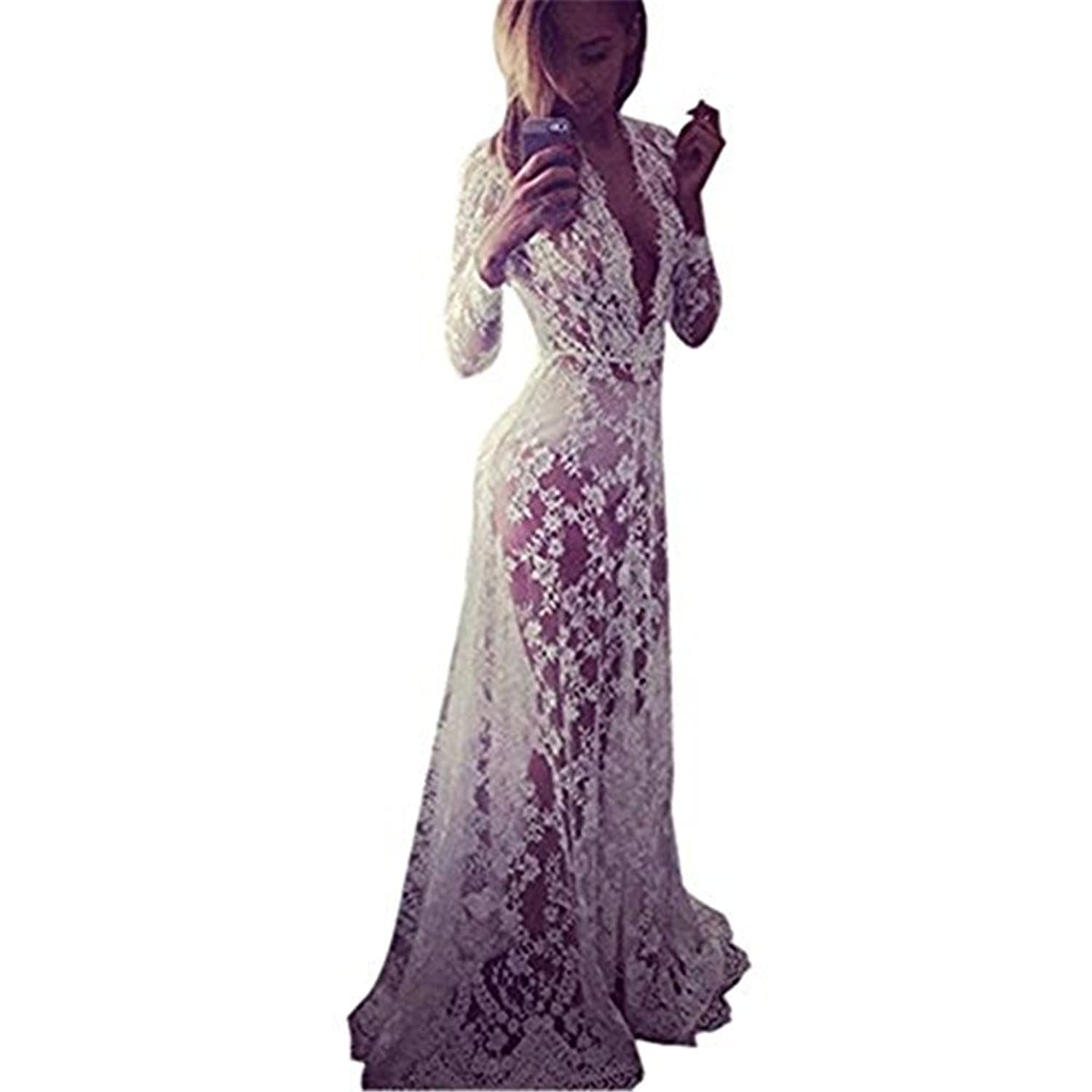 Fedi Apparel White Lace Vestidos V Neck Long Sleeve Swimsuits Cover
