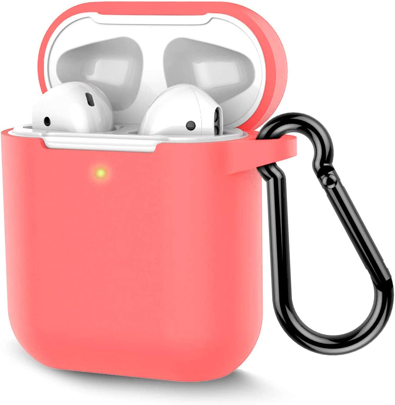 Coffea Protective Silicone Case with Keychain for Apple AirPods 2 (Coral)