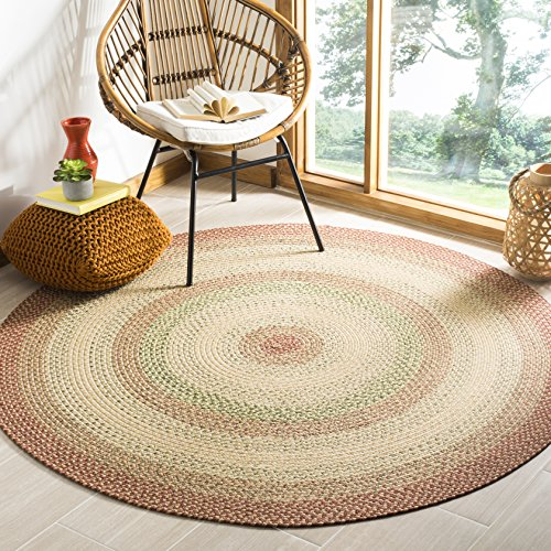 Safavieh Braided Collection BRD303A Hand Woven Rust and Multi Round Area Rug (8' - Round Rug Multi Area 8