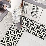 Ustide 2 Pieces Set Non-slip Kitchen Rug Runner Mr.Lattice Washable Floor Rug