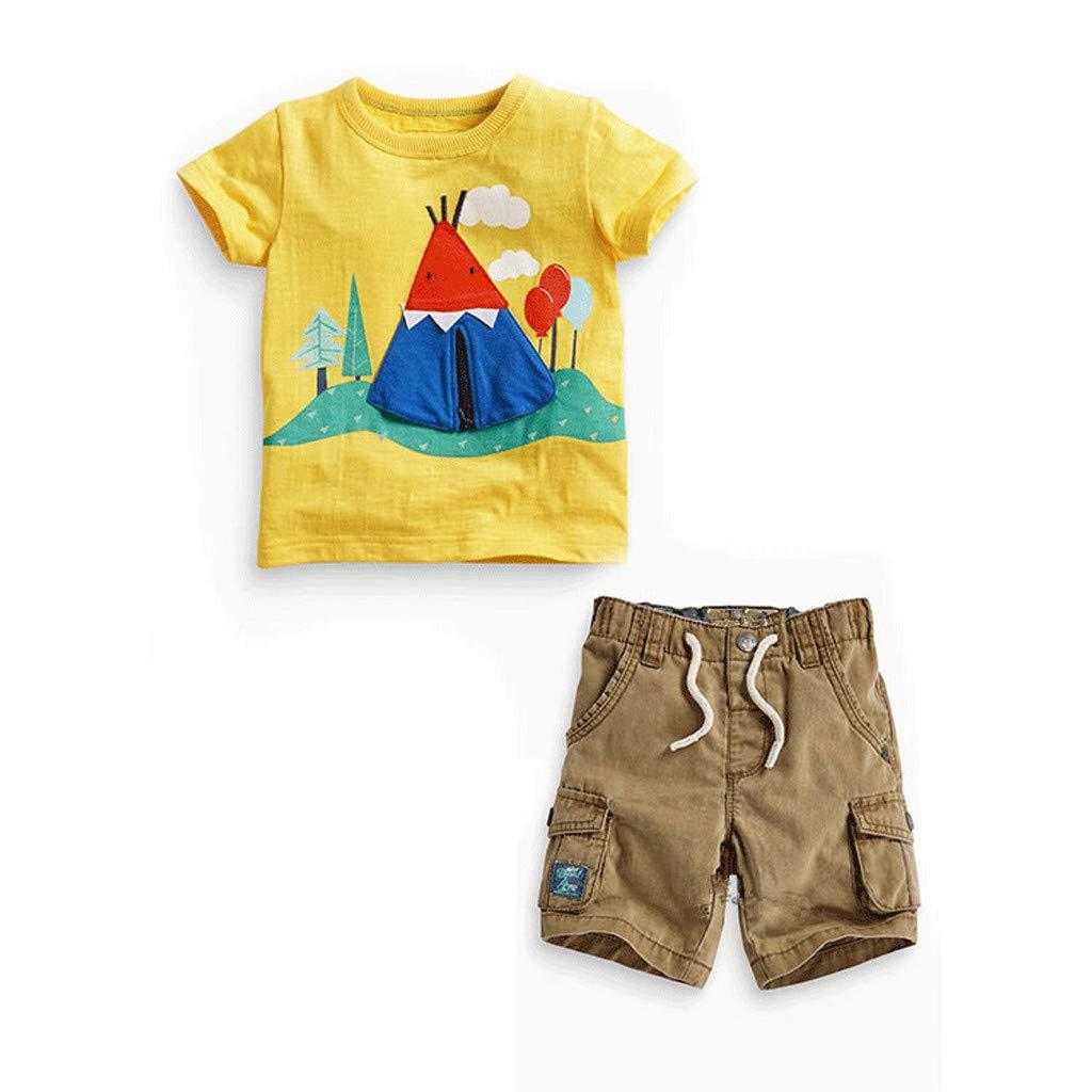 Xshuai Sommer Kinder Kinder Baby Jungen Print T-Shirt Tops + Hosen Outfits Kleidung Set