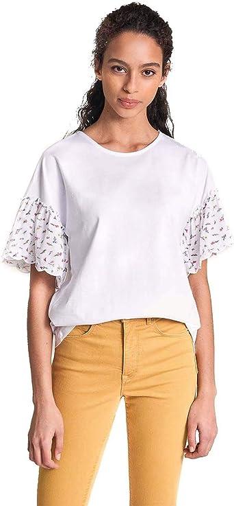 Salsa Jeans Camiseta Volantes con Bordados: Amazon.es: Ropa y accesorios