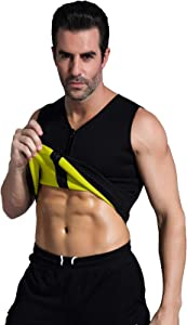 Ausom Mens Slimming Shaper Vest- Hot Thermo Shapewear- Exercise & Workout Sauna Suit- Abdominal Trainer- Upper Body Fat Burner with Zip for Weight Loss