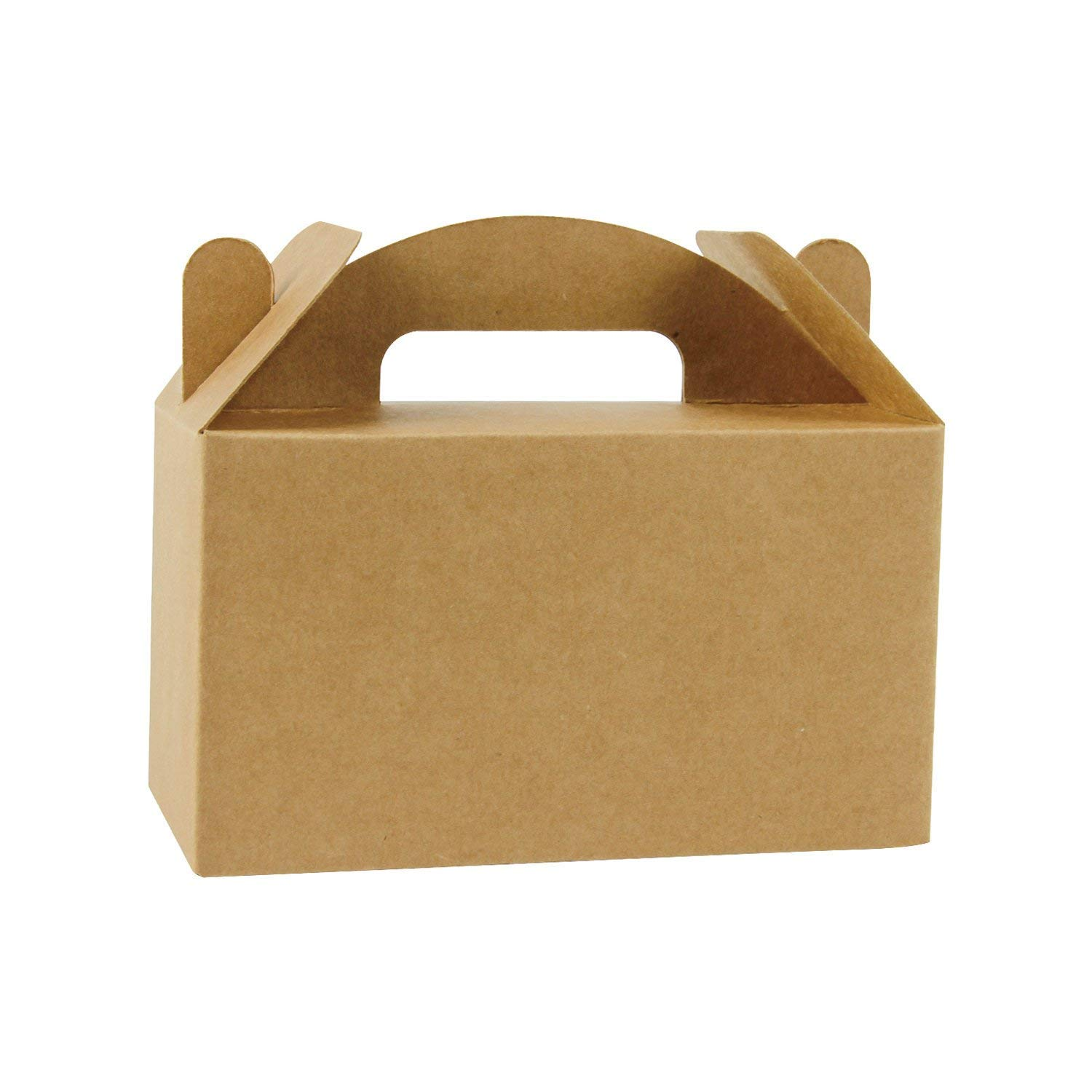 """LaRibbons 50 Pack Brown Color Treat Boxes Birthday Party Favors Shower Favor Box, 6.25"""" x 3.5"""" x 3.5"""""""