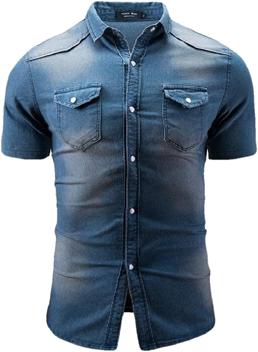 Suncolor8 Mens Short Sleeve Denim Chest Pocket Casual Button Down Washed Shirts