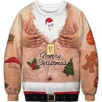 Honeystore Unisex Ugly Xmas Crewneck Sweatshirt Hairy Chest Print Sweater Shirt