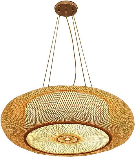 Imagen deAZCX Techo Chino Vintage, lámpara de bambú Hecha a Mano Creativa, lámparas de Arte de bambú, Moho y atenuación Inteligente a Prueba de Humedad,60CM