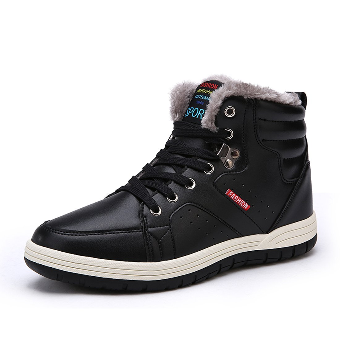 AFFINEST Mens Winter Snow Boots High Top Fur Lined Cotton Shoes Outdoor Sports Leather Sneakers for Walking Hiking Climbing(EU44, Black)