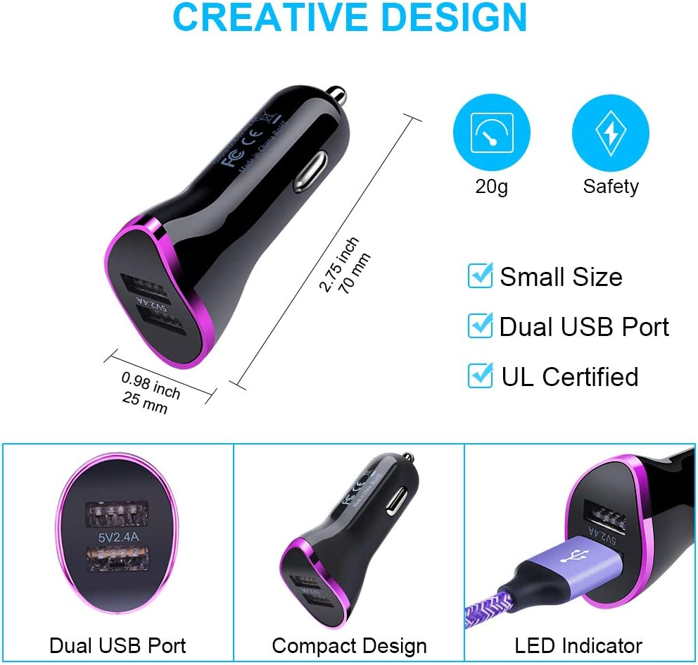 LG Stylo 5//4 Car Plug with 2Pack 6ft Type C Fast Charging Cable Compatible Samsung Galaxy S10e S9 S8 Plus Note10+//9//8 A20E A50 A70 Purple G8//G7 Google Pixel 4 xl//3a xl Dual USB Port Car Charger