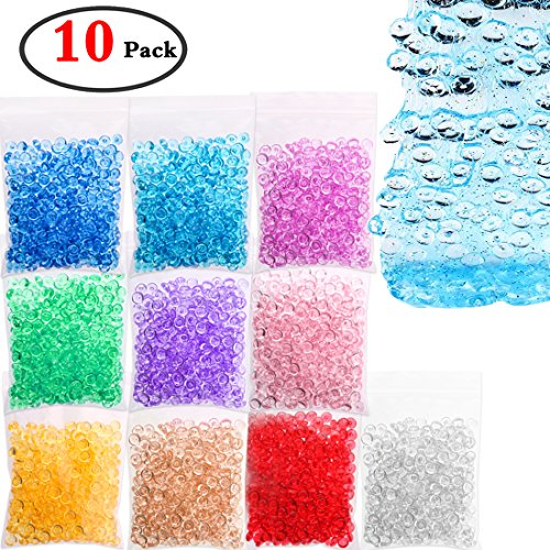 KeNeer Fishbowl Beads DIY for Crunchy Slime Plastic Clear Vase Filler Beads Kids Crafts for Party Decoration or Wedding (10 Colors)