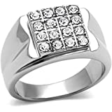 YourJewelleryBox TK359 MENS SIGNET RING STAINLESS STEEL SIMULATED DIAMONDS 16 STONE PINKY SMART
