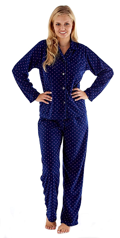 Lora Dora Womens Long Fleece Pyjamas Traditional Button Shirt Pjs Shoe Directory