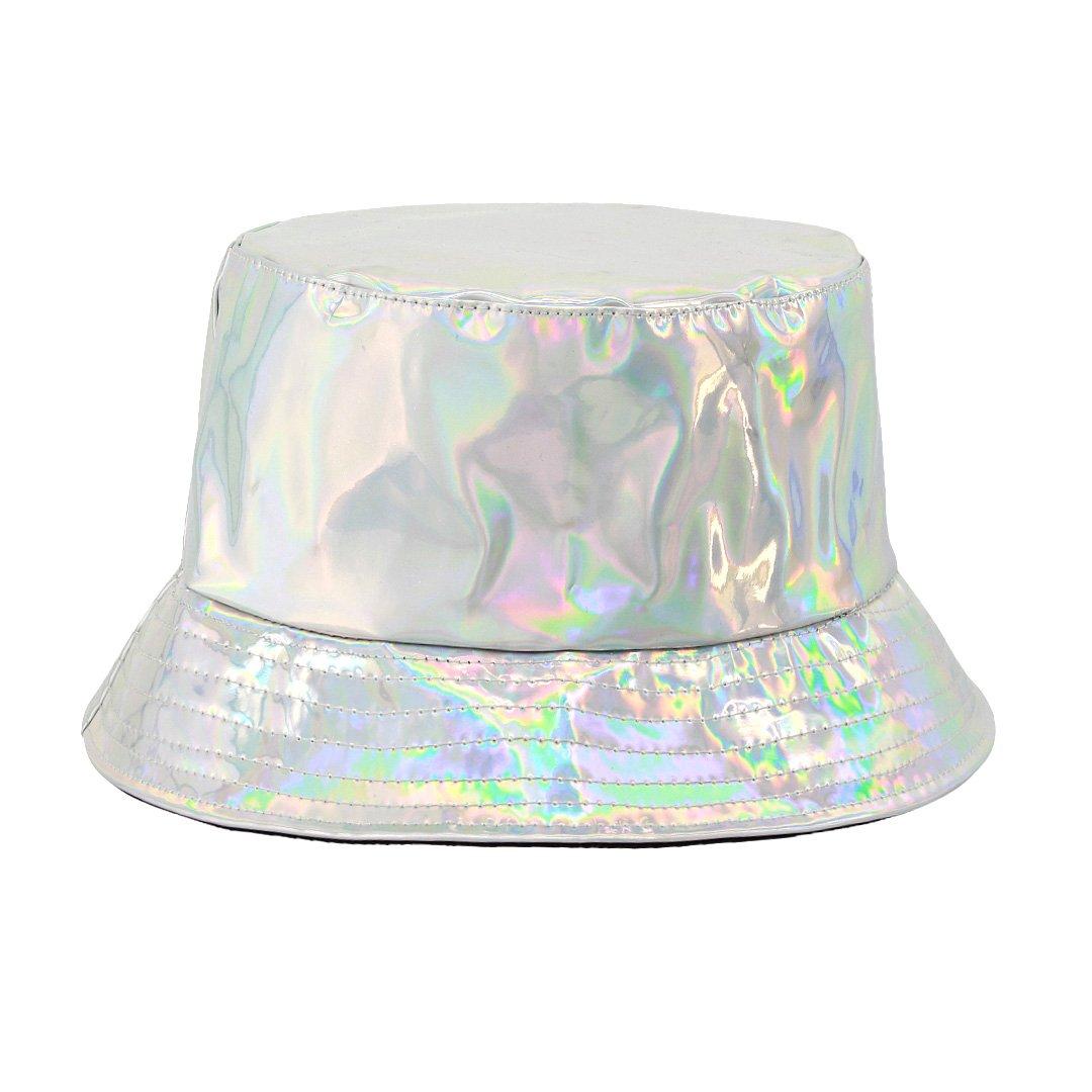 Surkat Unisex Fashion Hologram Climbing Bucket Hat Waterproof Fisherman Cap Travel Sunhat(Silver)