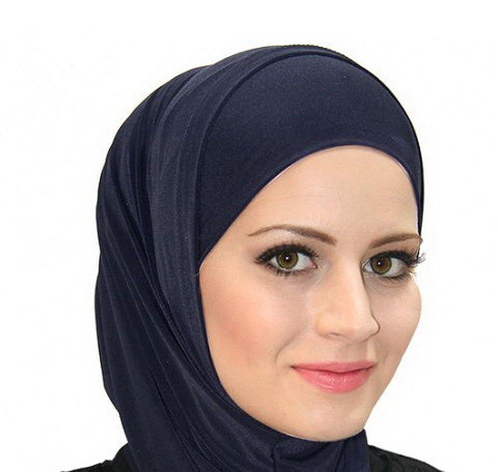 Navy Blue Al Ameera Muslim Hijab Cotton Amira 2 Piece Hood & Hijab Tube Underscarf Cap