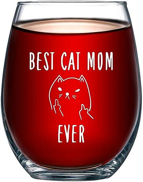 Born for-Anime Copa de Vino para Amantes de los Gatos, de 15 onzas, con Texto en inglés, Ideal para Amantes de los Gatos: Amazon.es: Hogar