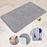 Indoor Doormat Super Absorbs Mud Absorbent Rubber Backing Non Slip Door Mat for Front Door Inside Floor Dirt Trapper Mats Cotton Entrance Rug, 20''x 31.5'' Shoes Scraper Machine Washable Carpet (Gray)