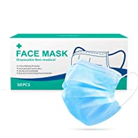 Baytion 50 Pieces 3-Layer Disposable Face Mask Adult Anti-fog Haze Dust-proof Non-Woven Fabrics Mask