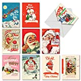 Very Merry O+D - 10 Boxed Retro Merry Christmas Cards with Envelope (4.63 x 6.75 Inch) - Assorted, Vintage Santa Claus Notecard Set - Adult Xmas and Happy Holiday Greetings AC6712XSG-B1x10