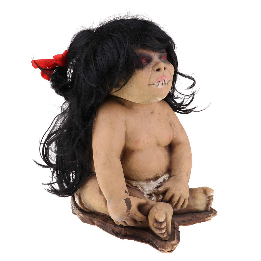 Prettyia Long Hair Red Eyes Creepy Woman Ghost Doll for Halloween Day Props Party Decoration