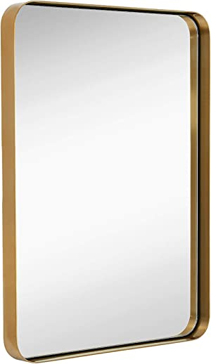 Hamilton Hills Contemporary Brushed Metal Wall Mirror | Glass Panel Gold Framed Rounded Corner Deep Set Design | Mirrored Rectangle Hangs Horizontal or Vertical (22