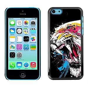 Caucho caso de Shell duro de la cubierta de accesorios de protección BY RAYDREAMMM - Apple iPhone 5C - Tiger Roar Teeth Art Watercolor Painting Neon