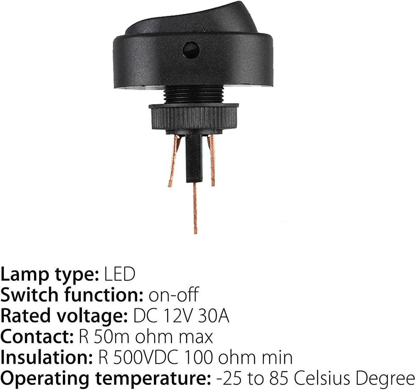 Eeekit 5 Pack 30 Amp 12 Volt Rote Led On Off Elektronik