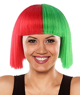 Halloween Party Online Christmas SIA Wig Green Red Adult HW 2700A