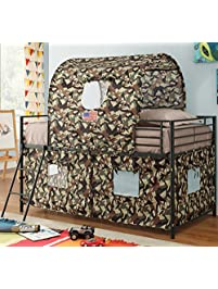 gi twin loft bed for boys durable metal frame in glossy black finish with guard - Boys Bed Frame